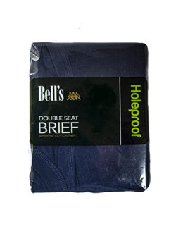 HOLEPROOF DOUBLE SEAT COTTON BRIEF NAVY FRONT
