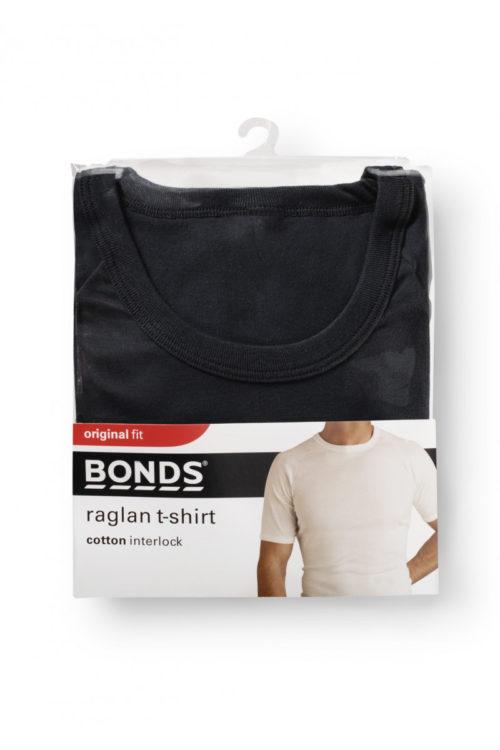BONDS RAGLAN CREW NECK T SHIRT - BLACK