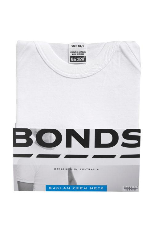 BONDS RAGLAN CREW NECK T SHIRT - WHITE